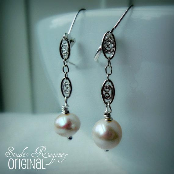 Earrings - Countess Edwardian Earrings - Pearl Earrings - Downton Abbey Earrings - Edwardian Jewelry