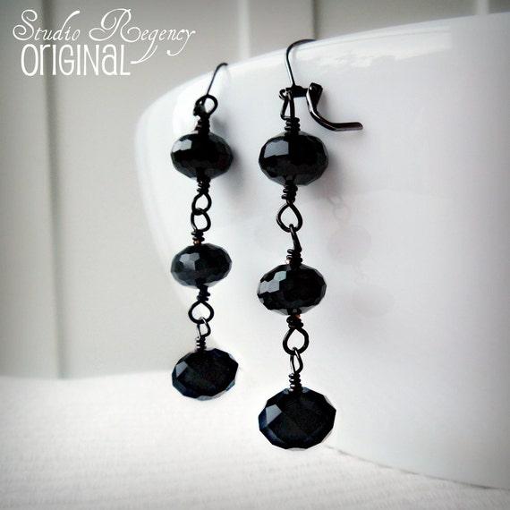 Earrings - Lady Mary's Edwardian Earrings -  Downton Abbey Earrings - Black Earrings - Edwardian Jewelry