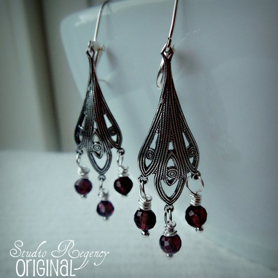 RESERVED for Shelby - Lady Edith's Art Nouveau Garnet Gemstone Earrings - Inspired by Downton Abbey