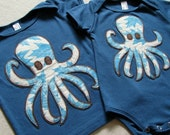 Leaf Printed OCTOPUS - appliqued ORGANIC Galaxy Blue SHORT sleeved infant lap tee - size 12-18 months