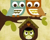 Owl Family in Tree 6 x 6 Print