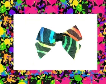 rainbow zebra striped bowclip--rockabilly/emo/scene