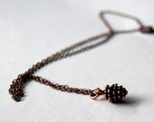 Teeny Tiny Copper Forest Pine Cone Necklace