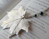 Large Fallen Silver Maple Leaf Necklace - REAL Maple Leaf