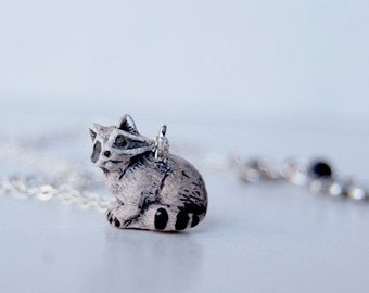 Raccoon Necklace | Little Raccoon Charm Necklace | Forest Raccoon Pendant Necklace