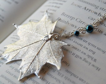 Large Fallen Silver Maple Leaf Necklace - REAL Maple Leaf