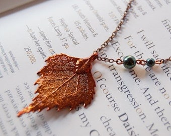 Small Fallen Copper Birch Leaf Necklace | Electroformed Jewelry | Real Birch Leaf Pendant | Nature Jewelry | Copper Leaf Necklace