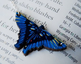 Blue Periander Swordtail Butterfly Necklace | Blue Butterfly Necklace | Wooden Butterfly Charm Necklace