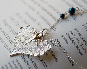 Small Fallen Silver Cottonwood Leaf Necklace - REAL Cottonwood Leaf