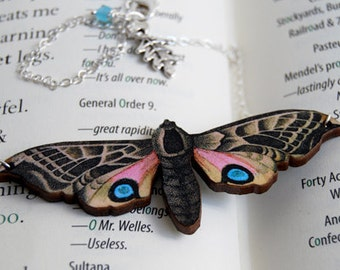 Blind Eyed Hawk Moth Necklace | Wooden Moth Necklace | Whimsical Moth Pendant | Insect Necklace