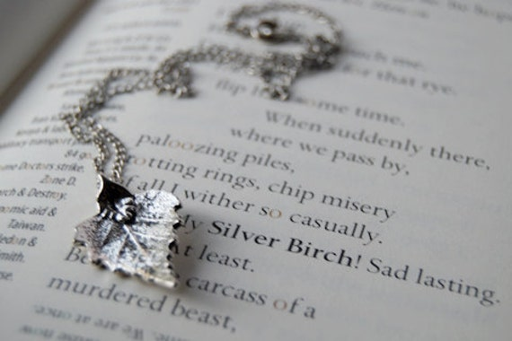 Stunning Silver Birch Leaf Necklace