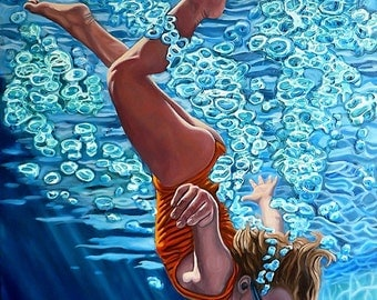 The Plunge no.2 - Original Stillman Giclee on Stretched Canvas, 15 x 20 x 1.5 in.