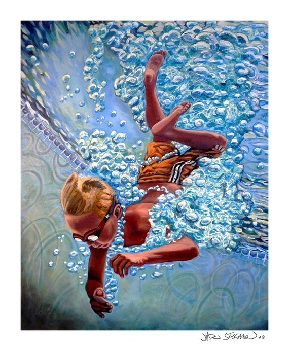 The Plunge no.1 - Original Stillman Giclee on Signed Archival Paper, 14x18 in.