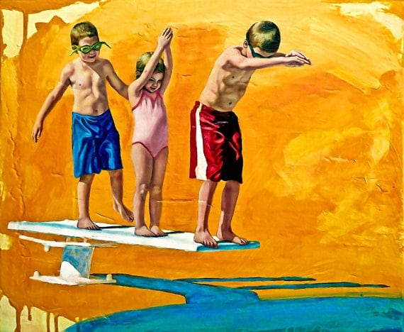 The Diving Lesson - Original Stillman Giclee on Stretched Canvas, 14 x17 x1.5 in