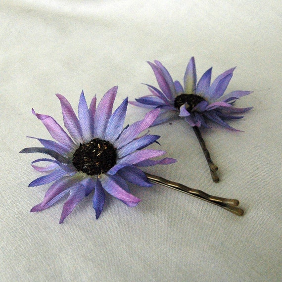 Fun Purple Aster Flower Bobby Pins