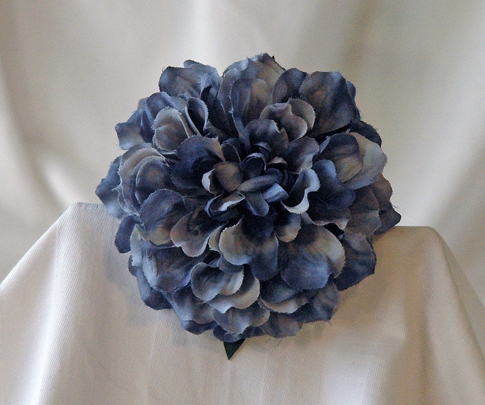Blue Marigold Flower Hair Clip