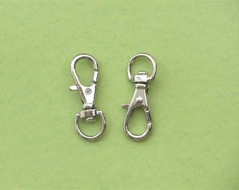 Nickel Lobster Swivel Clasps Clips --25 pcs--5/16 inch D-head inside wide (0.8 cm)--SMALL size