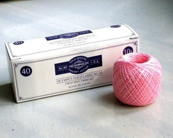 SALES - 15% OFF - Lace Crochet Cotton Thread - Olympus Gold Label 40 - col.102 Medium Pink - 1 ball - 10g/89m