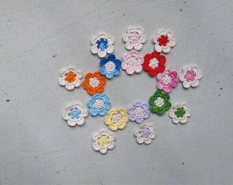 Crochet Flowers Appliques 110 - BEIGE series - 18 pcs