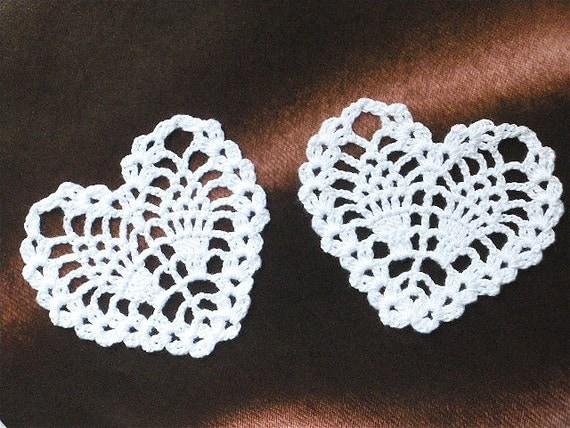 Crochet Lace Motif Doilies Appliques 120.6 - HEART shape - 2 pcs - White Color