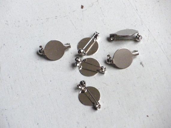Silver Tone Pin Backs Brooch with ROUND pad 13mm --100 pcs--bar pin 20mm long
