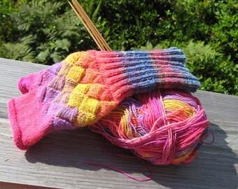 Entrelac Wristwarmer Pattern - Knit