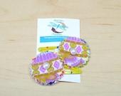 2 Purple yellow cotton flower snap clip,cotton fabric,white pearl,purple fabric snap clip,yellow fabric snap clip,adult,teenager