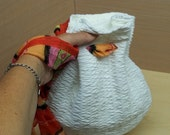 White pouch  wrislet bag red scarf handle