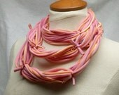 Pink jersey t-shirt scarf unisex necklace infinity treasury item