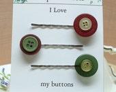 Vintage green burgundy yellow button bobby pin 08 treasury item