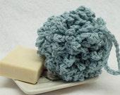 Aqua crocheted bath pouf,bathroom,cleaning,crochet bath pouf,aqua bath pouf,stocking stuffer,aqua,eco-friendly,shower pouf,shower,