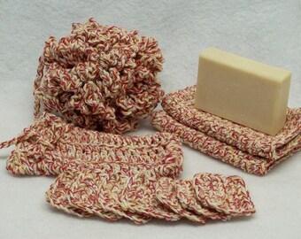 Red  & white crochet Spa bath set,soap bath puff,eye make up remover pads,face cloth,soap saver,eco friendly,cotton yarn,