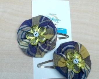 Mustard yellow blue yoyo flower hair clip,blue hair clip,yoyo hair clip, blue yellow hair clip,upccled fabric falowerhair clip,eco friendly