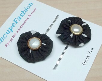 Black/white yoyo pearl button posie hair pins,black/white posie bobby hair pins,yoyo hair pins,pearl button hair pins,women,teens,hair pins