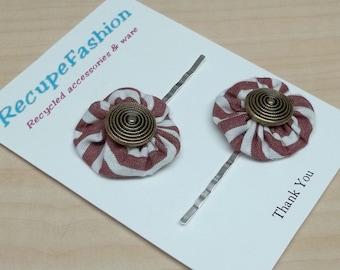 Striped white burgundy yoyo button posie bobby pins reclcaimed fabric