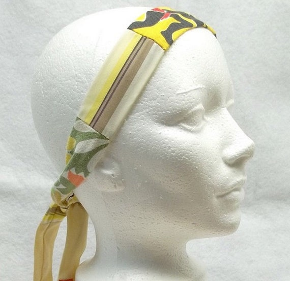 Yellow striped patchwork fabric headband  eco friendly reclaimed cotton fabric 01