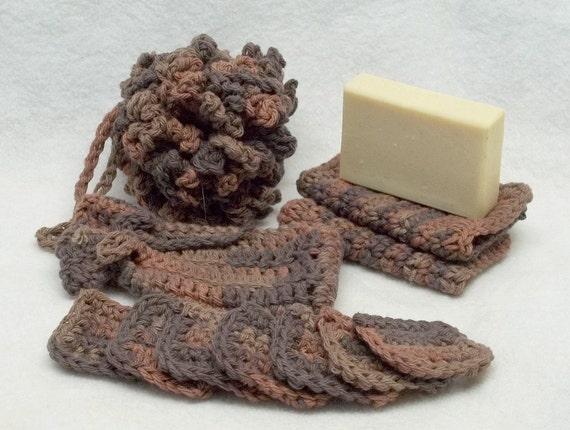 Reserved Brown Spa bath set crochet  handmade item reclaimed cotton yarn  Brown fuego