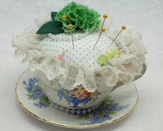vintage blue dainty flower teacup pincushion,hand painted flower teacup pincushion,teacup pincushion,floral teacup pincushion,green flower