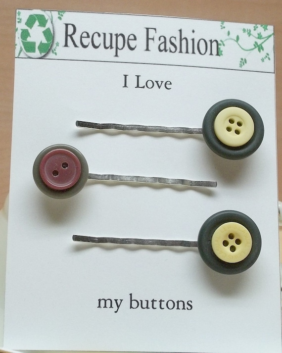 Vintage green yellow and burgundy button bobby pins,03,hair fashion,hair accessory,hair decoration,stocking stuffers,