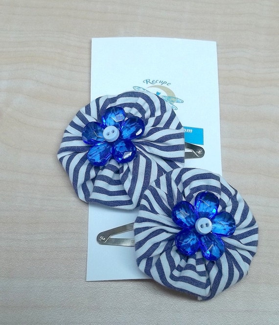 Reserved Striped blue yoyo flower posie hair clip reclaimed fabric baby button