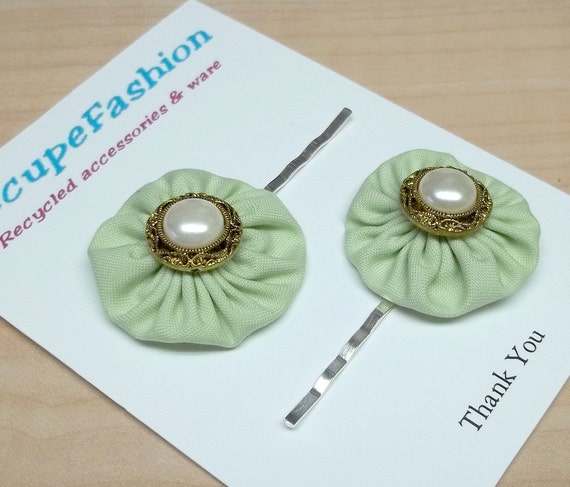 Frosty mint Green yoyo pearl button posie bobby pins cotton fabric
