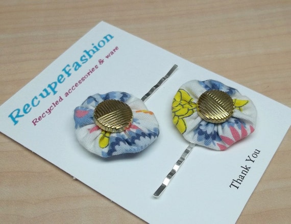 Tricolor yoyo gold button posie bobby pin reclaimed fabric