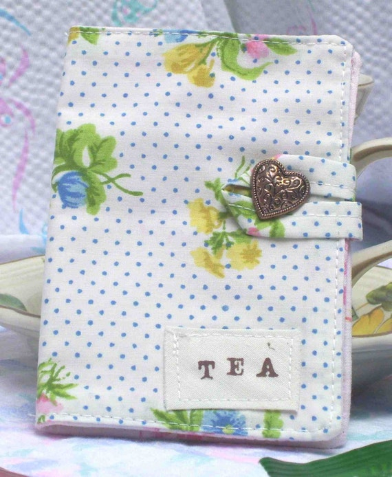 Sale White fabric Tea wallet  pink blue yellow flowers heart button treaury item