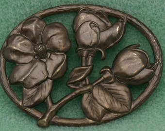 Victorian Roses Brass Stampings 2 Pcs Lead and Nickel Free 0382