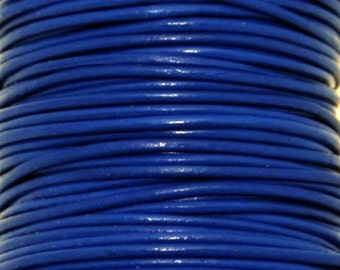 Greek Leather, Blue, Round Leather, 1mm 5 yards