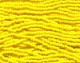 Dark yellow, 8/0 Czech Seed Beads, Twelve 20 Inch Strands