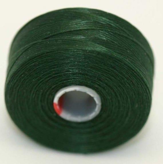 green c lon seed bead thread 2 bobbins size d