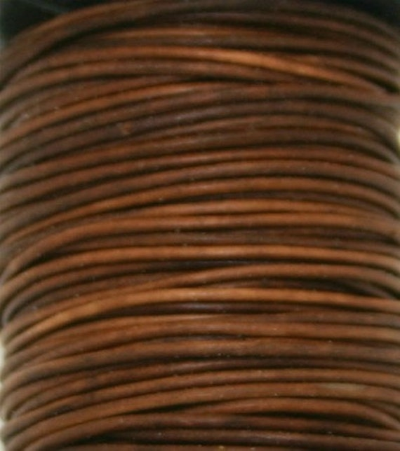 Greek Leather, Distressed Brown, Round Leather, 1mm, 5 yards