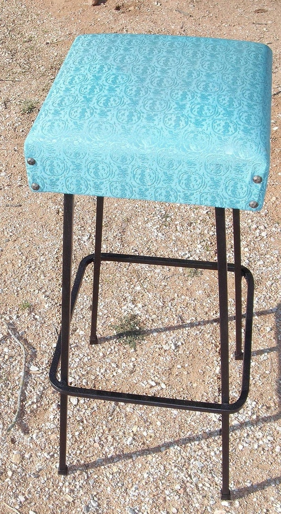 Vintage Mid Century Industrial Bar Stool With Vinyl Turquoise