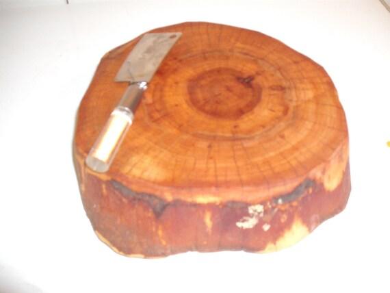 Texas Wild Olive Log slice Cheese Cutting board